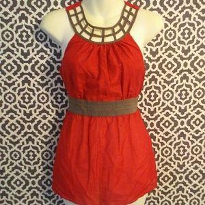 XXI Anthropologie Red Silk Blend Cutout Blouse S